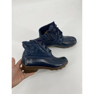 Sperry Top Sider Saltwater Navy Shiny Quilted Wate